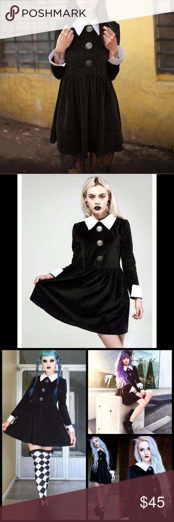 Disturbia Rosemary Wednesday Babydoll Collar Dress Disturbia Rosemary Wednesday Addams Style Velour Dress is perfectly soft, warm and strange. Never fit in with this velvety dress featuring soft and slinky velour construction, flowy skirt, long sleeves, contrast Peter Pan style collar and sleeve cuffs. The dress is finished gorgeously with three giant alien faux button closures in the front. A zip in the back allows for easy access. Brand new with tags, still in package. #goth #90s #grunge…