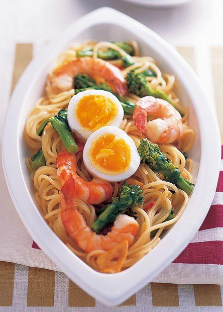 菜の花とえびのパスタ半熟卵のせ (レシピNo.1119)|ネスレ バランスレシピ  http://p.nestle.jp/pint_recipe/