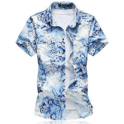 2017 Summer Floral Shirt Men camisa social masculina slim fit Hawaiian Shirt mens dress shirts camisa hawaiana Blue Flower
