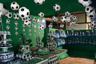 soccer party (lantern balls with black duct tape)