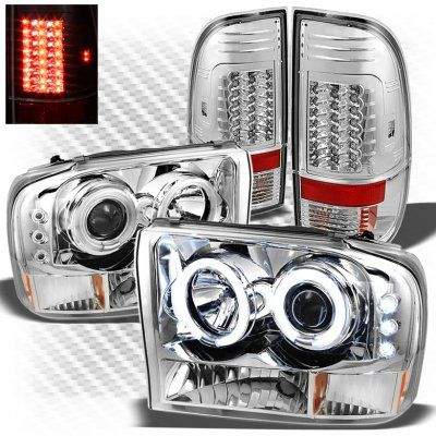 Ford F250 Super Duty 1999-2004 Chrome CCFL Halo Headlights and LED Tail Lights