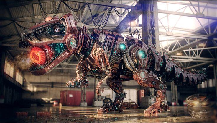 Tyrannosaurus T-90 - Robot dinosaurio 3D