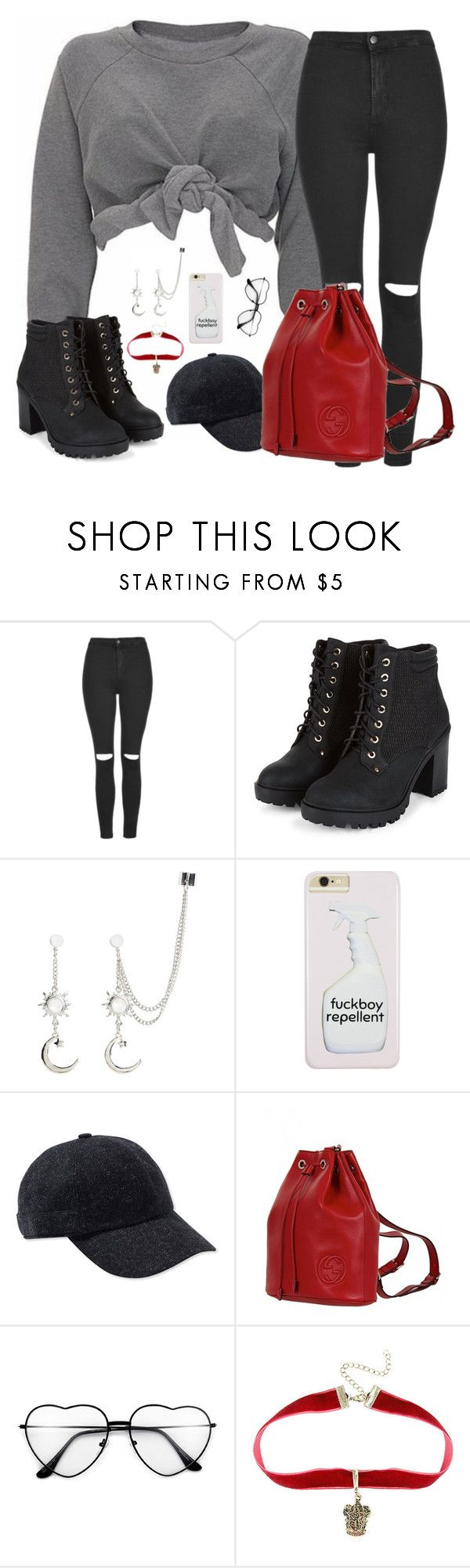 """""""International women's day"""" by lame-spacemilk ❤ liked on Polyvore featuring Ashish, Topshop, Hat Attack, Gucci and Warner Bros."""