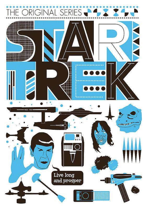 Star Trek Poster Movie poster Retro Scandinavian style