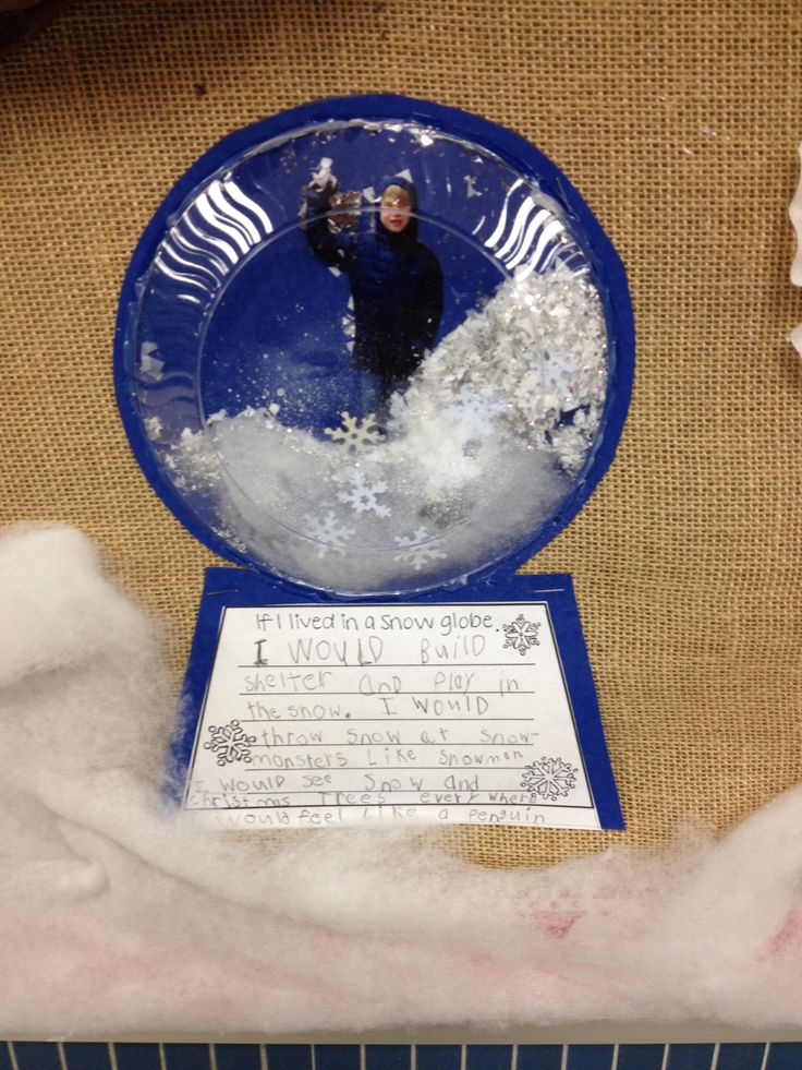 """If I lived in a snowglobe"" class art project. So cute! Kids wore winter coat for photo and then put the pic behind a clear plate filled with ""snow"": cotton, glitter and confetti!"