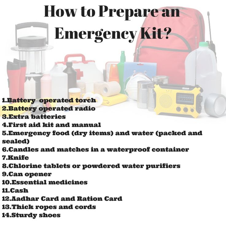 How to prepare an #Emergency safety kit ?  #Disaster #safety #torch #medicines #firstaid #safety #people #hospitals #bag #bandage # batteries #radio #drinkingwater #media #shoes #waterproof