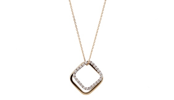 Handmade Square Pendant Set: 18ct white gold diamond pave set pendant and plain18ct yellow gold square pendant