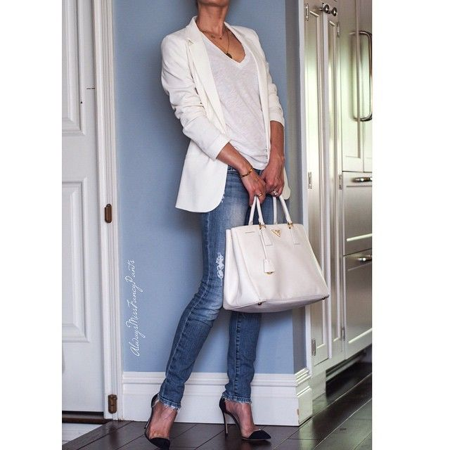 Happy Friday everyone! #HM jacket #JCrew t-shirt #JBrand jeans #GianvitoRossi shoes #Prada bag