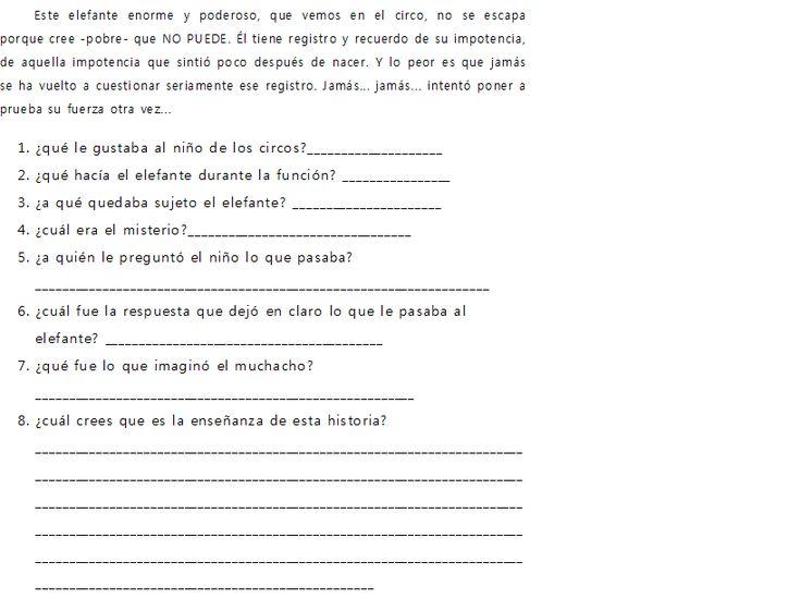EL ELEFANTE ENCADENADO (lectura con actividades) - APRENDO ESPAÑOL