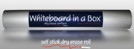 stick on whiteboard.  Sticks to the wall or tables and is removable.  Can cut to size.