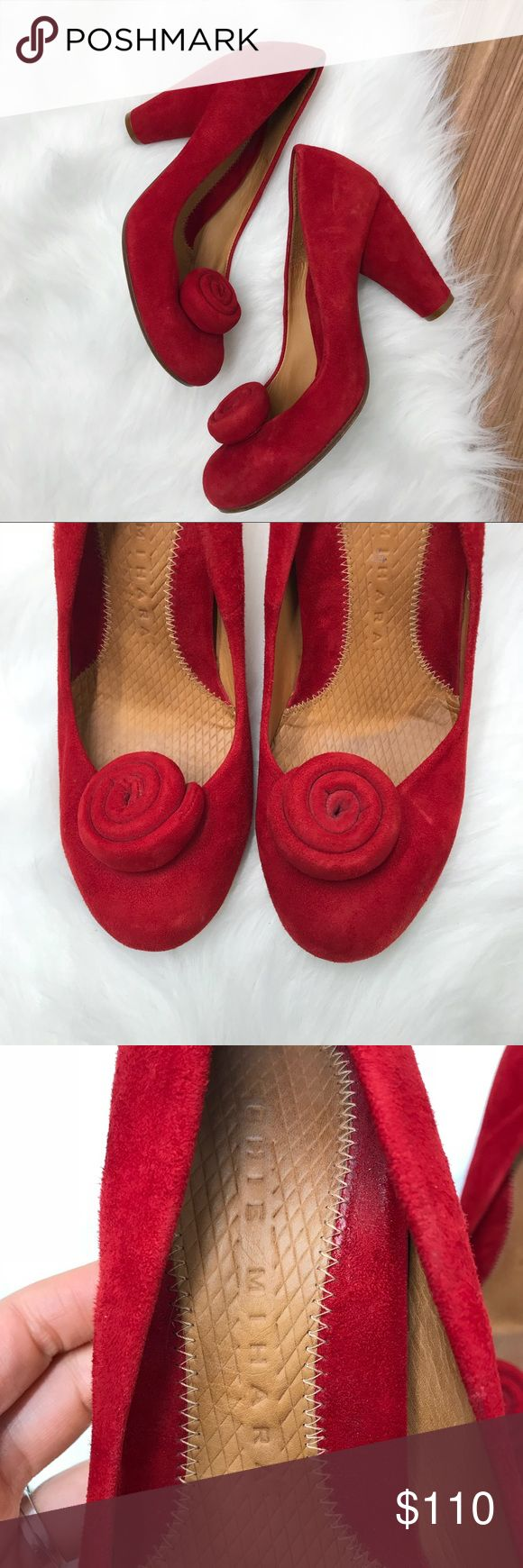 Chie Mihara Red Suede Pumps With Flower Detail 40 Chie Mihara Red Suede Pumps With Flower Detail 40 Shoes are in pre-owned condition (please see all images). They do not have any scuff marks on the heel or the toes.  Light wear on sole from use.  Made in spain. Offers welcomed. Anthropologie Shoes Heels