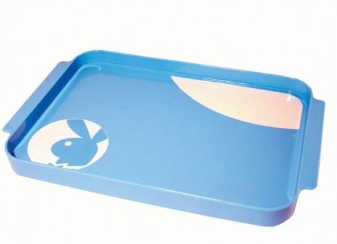 PLAYBOY ICON VASSOIO ACRILICO  Vassoio portaoggetti in acrilico color azzurro bianco con immagine del coniglio di Playboy