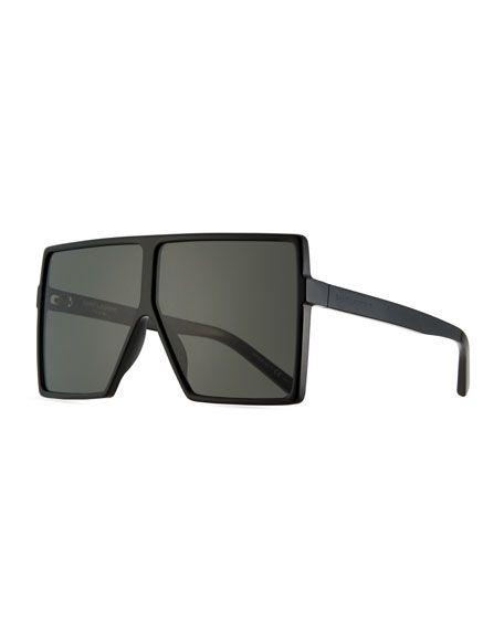 37e964235b SAINT LAURENT 183 Betty Flat-Top Square Shield Sunglasses