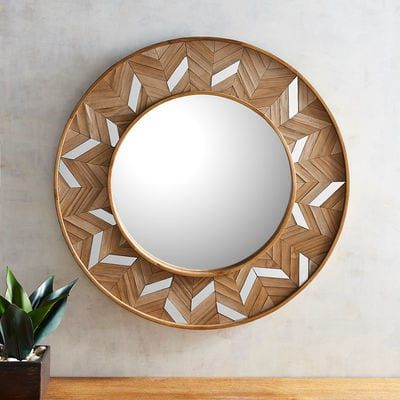 With its strong lines and textural composition, our striking chevron mirror blends both modern and rustic sensibilities with a substantial amount of style.
