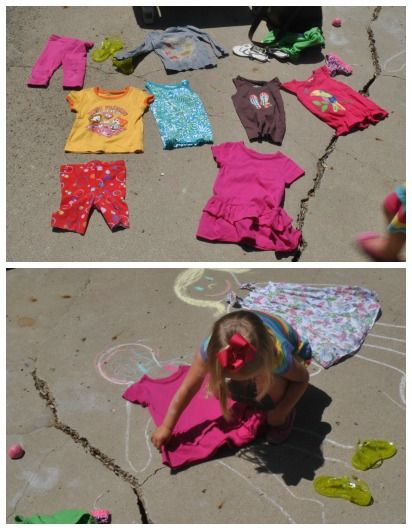 The Iowa Farmer's Wife: Outside Play Link-Up: Chalk Dress-Up Dolls