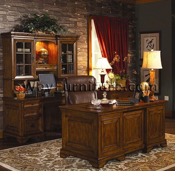 Rustic Americana Hardwood Executive Desk Home Office Furniture Dark Oak Finish Desks And