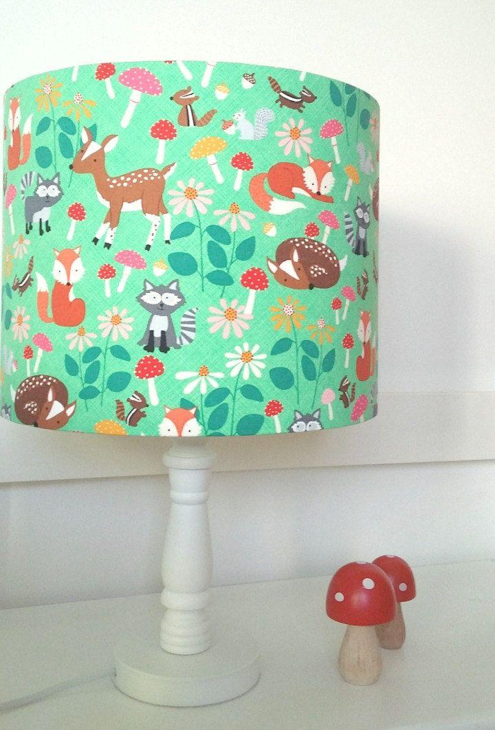 Deer Of Green Lamp : Woodland lampshade nursery decor fox