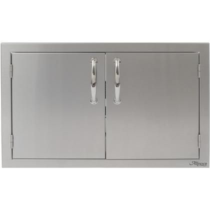 """AB-36 36"""" Double Sided Access Doors with All-welded Commercial Stainless Steel Design Integrated Storage Rails and Polished Steel Handles in Stainless Steel"""