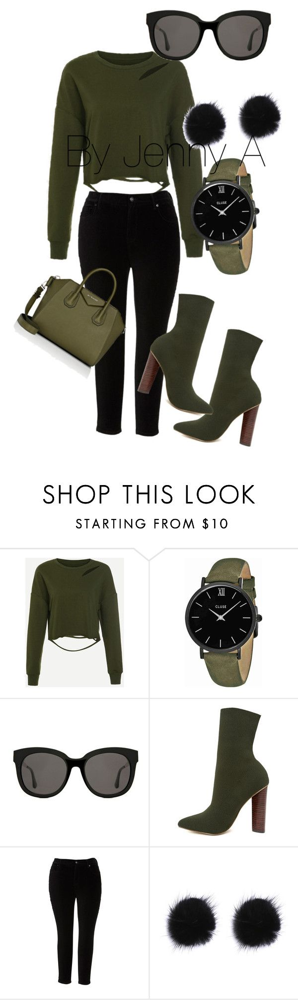 """Olive you"" by jen-amaya ❤ liked on Polyvore featuring CLUSE, Gentle Monster, Steve Madden, Melissa McCarthy Seven7, Givenchy and plus size clothing"