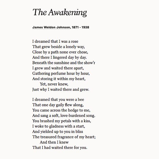 Share James Weldon Johnson S Poem The Awakening At A Wedding Or On Your Anniversary
