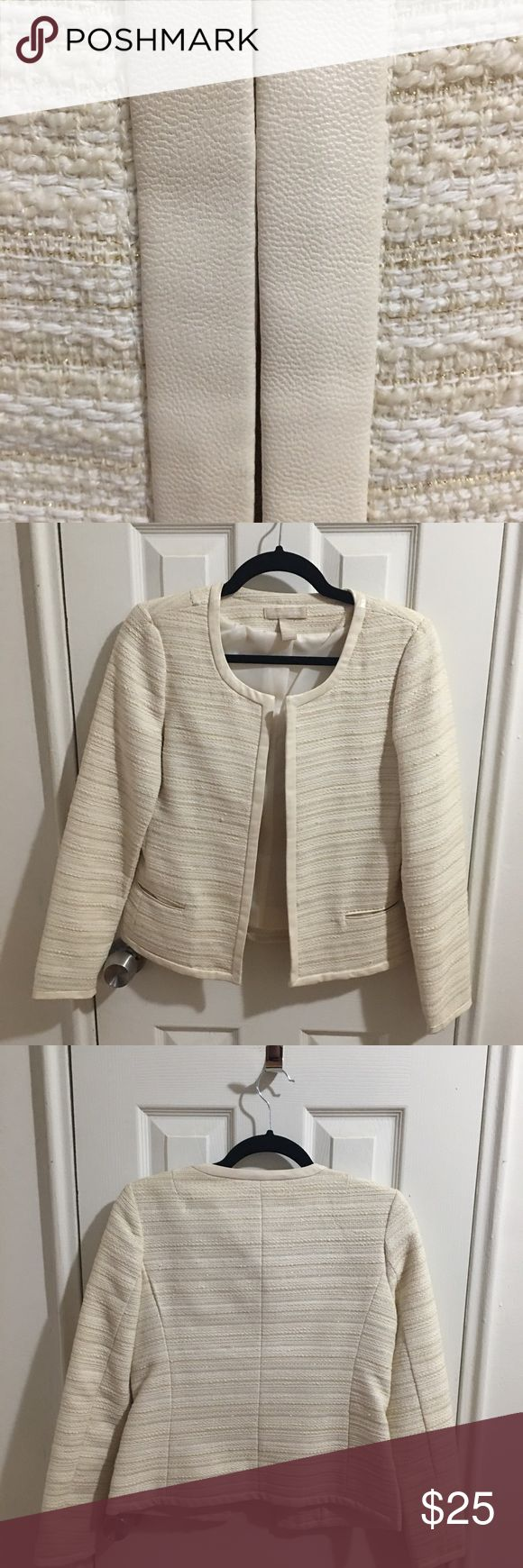 Banana Republic Tweed Jacket - Great Condition Banana Republic Tweed Jacket/Blazer. Beautiful light cream with gold threading/accents throughout fabric. Vegan leather piping on cuffs and lapel. Small snag (visible in photo on left side) in Tweed fabric in front. Otherwise in excellent condition. Great for fall/winter (chilly spring day) dress up or down, personally love and wore a few times but gained some weight :( and it's a bit too tight across the back for me (no stretch). Banana…