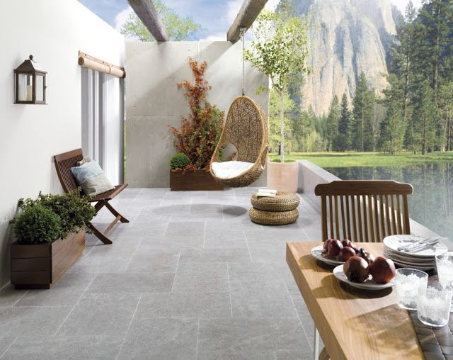 Especial terrazas verano2013 cer mica con apariencia de for Patios con piedras