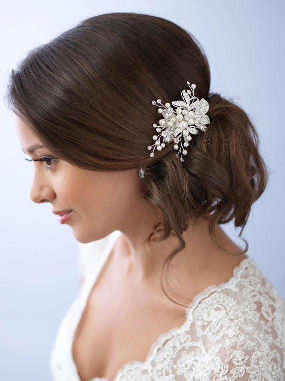 pearl hair clip rhinestone bridal hair clip floral wedding