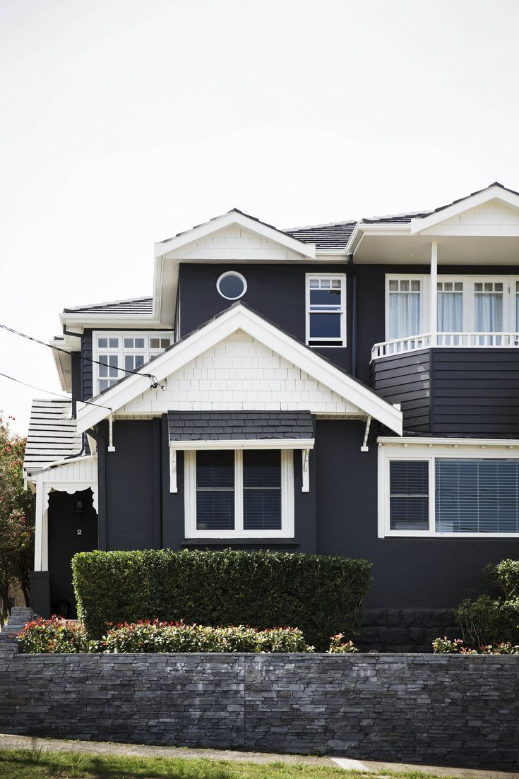 White trim on black exterior | Home Beautiful Magazine Australia