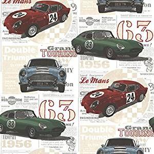 BHF 2604-21262 - Carta da parati, motivo: Auto d'epoca, multicolore