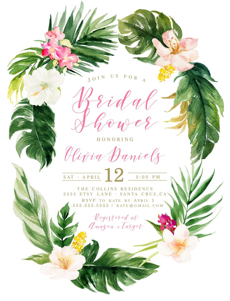 Tropical Bridal Shower, Invitations for a tropical theme bridal shower, Luau Invitation - Customize for any event at LovelyPaperShop