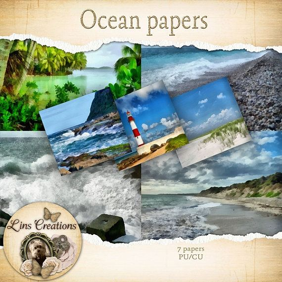 Ocean papers by LinsDigitalDesigns on Etsy