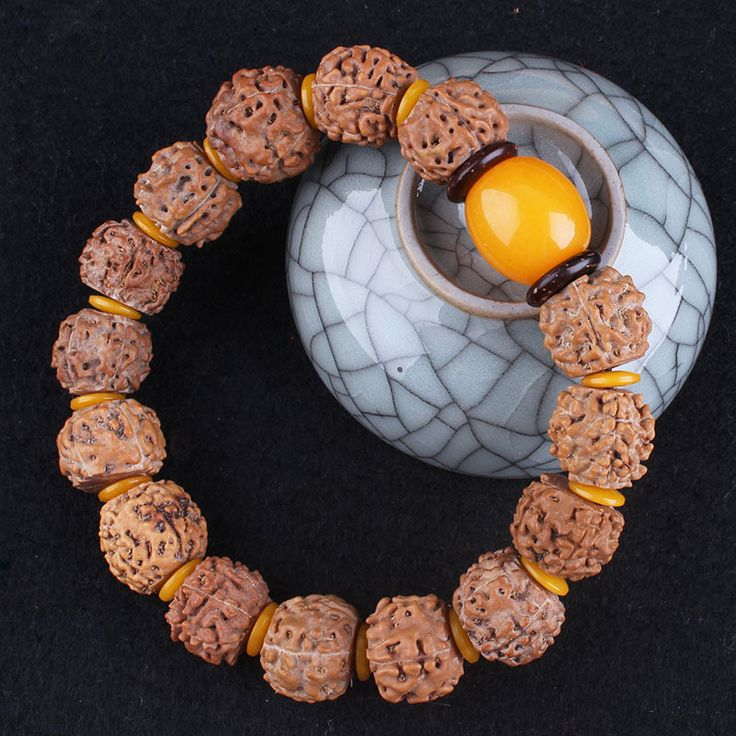 Five Petal Rudraksha Beads Bracelet Pure Natural High Quality Yellow Spacer Fashion Accessories 1.5cm Buddha Beads Bracelet