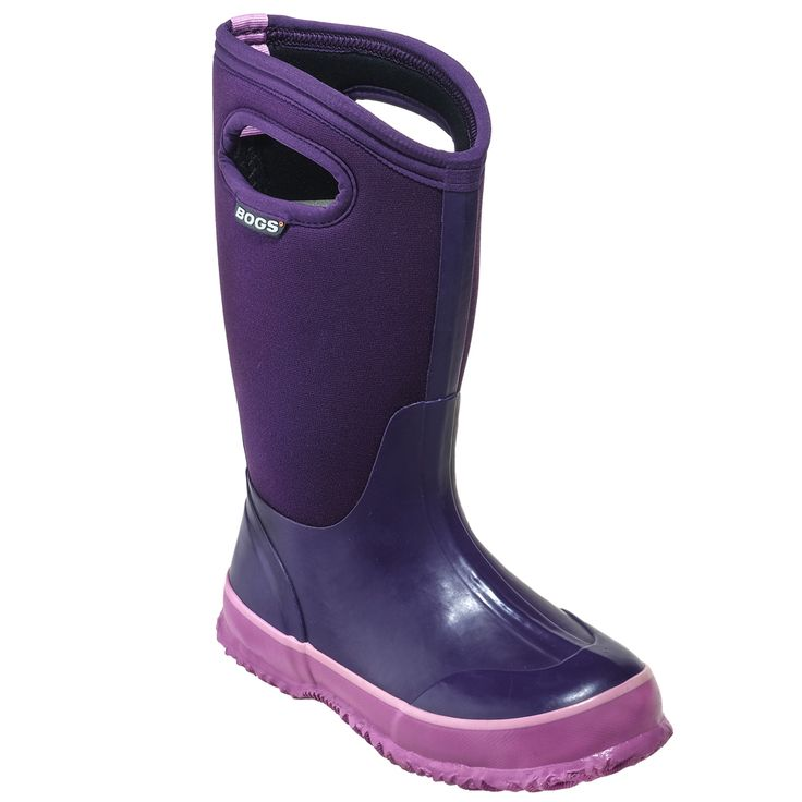 Bogs Kids' 71442 511 Purple Waterproof Insulated Pull-On Rubber Boots