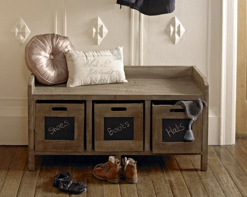 shabby bench storage unit chic furniture window seat wooden shoes cupboard hall