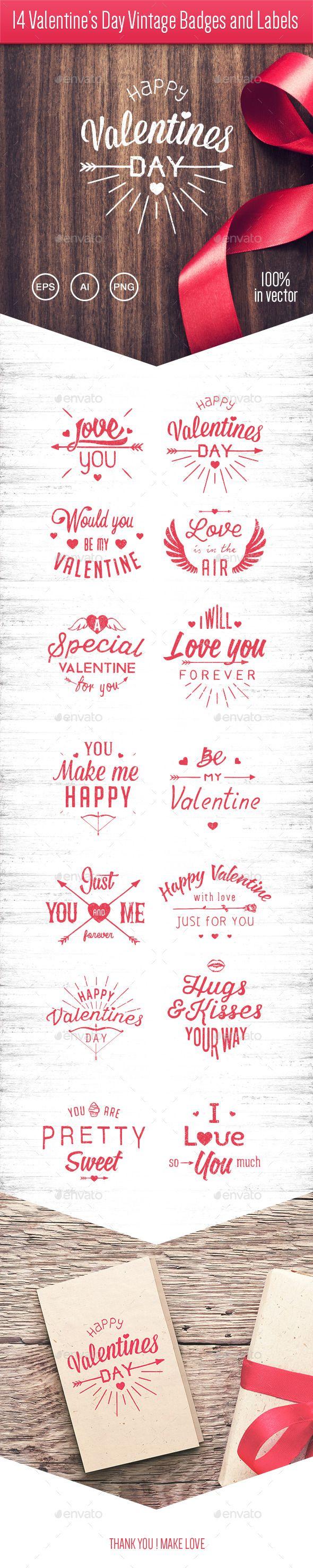 14 Valentine's Day Vintage Badges and Labels Vector Template #design Download: http://graphicriver.net/item/14-valentines-day-vintage-badges-and-labels/10227313?ref=ksioks