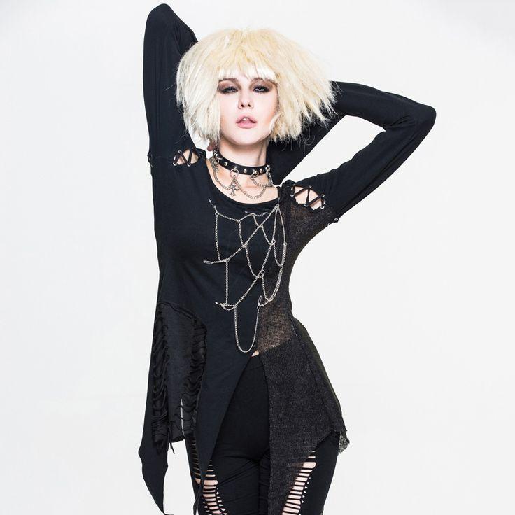 2017 Spring Summer Devil Fashion Steampunk Women Spliced Tee Shirt Gothic Black O-Neck Long Sleeve Stitching T-Shirt Tops #Affiliate