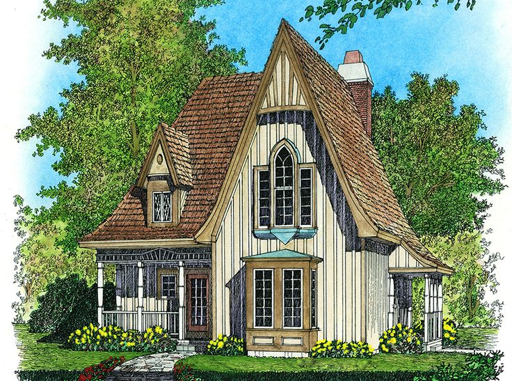 Plan 43002pf Charming Gothic Revival Cottage Design