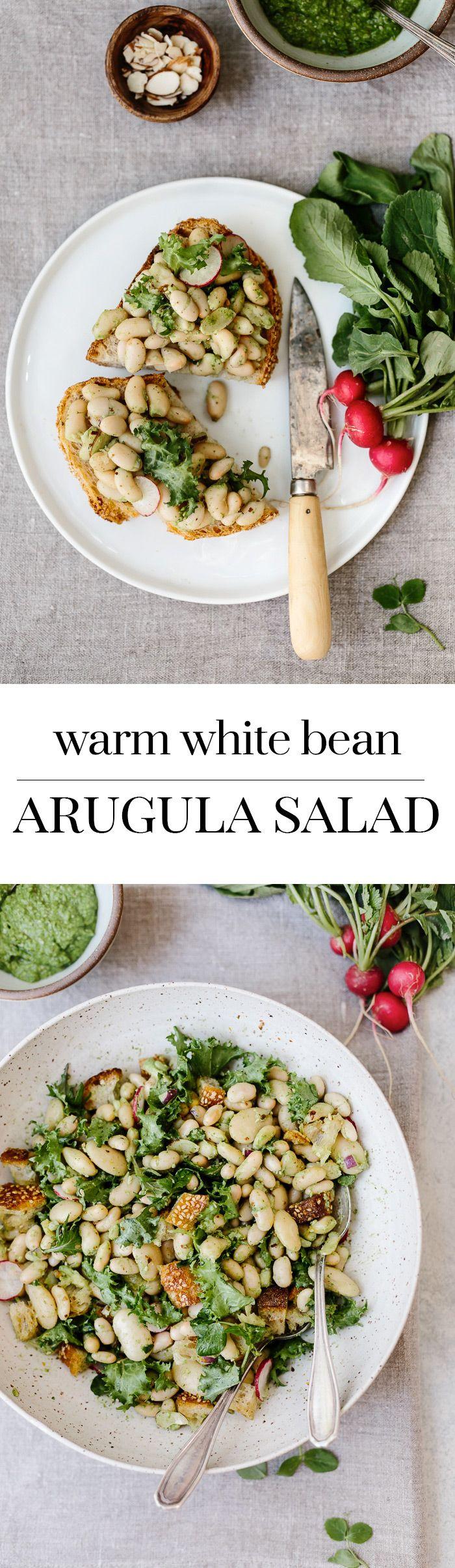 Warm White Bean Arugula Salad: A Salad recipe made with mixing warm cannelini beans with arugula pesto.