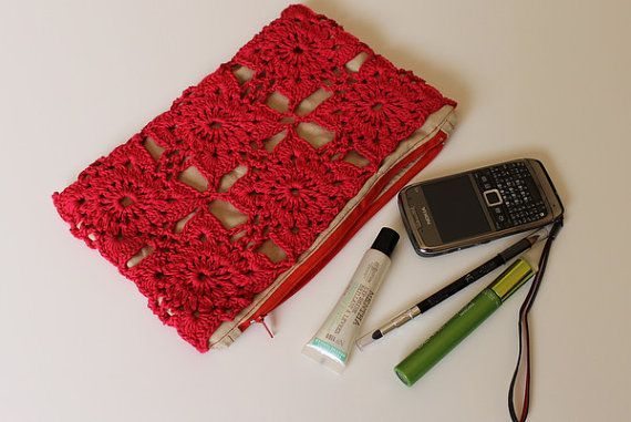 Flower Motif Crochet Clutch