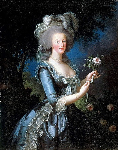 Portrait of Marie-Antoinette with rose painted by the painter Elisabeth Vigee-Lebrun in 1783.