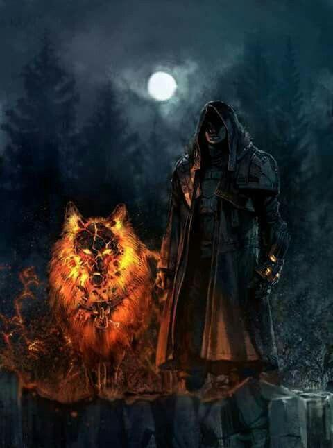 Mann mit Feuer – Wolf