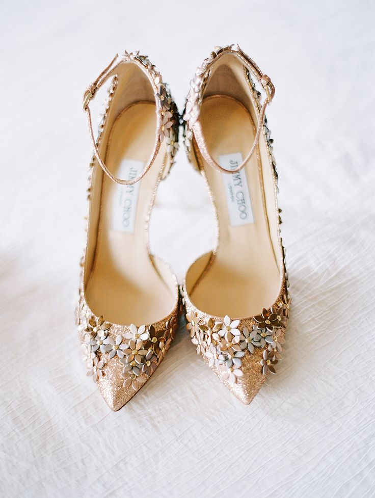 Floral embellished Jimmy Choo's: Photography : Katie Stoops Photography Read More on SMP: http://www.stylemepretty.com/2017/02/07/pippin-hill-summer-wedding/