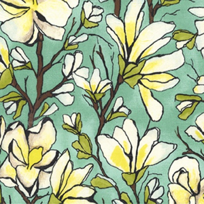 """Magnolia Branch, Aqua"" fabric. ""Magnolia Lane"" collection by Laura Gunn produced by Michael Miller.  The colors are aqua pottery green (more sage than blue) with lime green, cocoa brown, citron yellow, black and white."