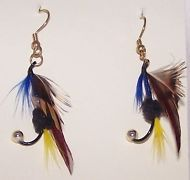 "Fly Fish Earrings Trout Salmon Lures Yellow Brown Blue 1-1/2"" Handmade"