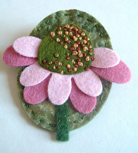 brooch pin echinacea silk paper (1) | Flickr - Photo Sharing!