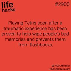Playing Tetris video game soon after #Traumatic experience, helps reduce  the memory & prevent flashbacks