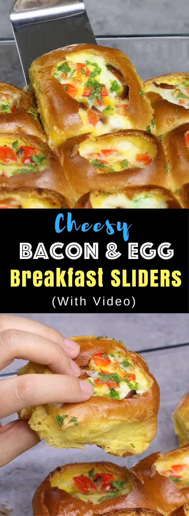 Cheesy Bacon and Egg Breakfast Sliders – Soft and tender sliders are stuffed with bacon, egg, cheese and bell pepper. So delicious! All you need is some simple ingredients: dinner rolls, bacon, egg, cheese, bell pepper, and milk. Great for a weekend brunch or game day party. A perfect pull apart breakfast or brunch of your dreams! Quick and easy recipe. Video recipe. | Tipbuzz.com