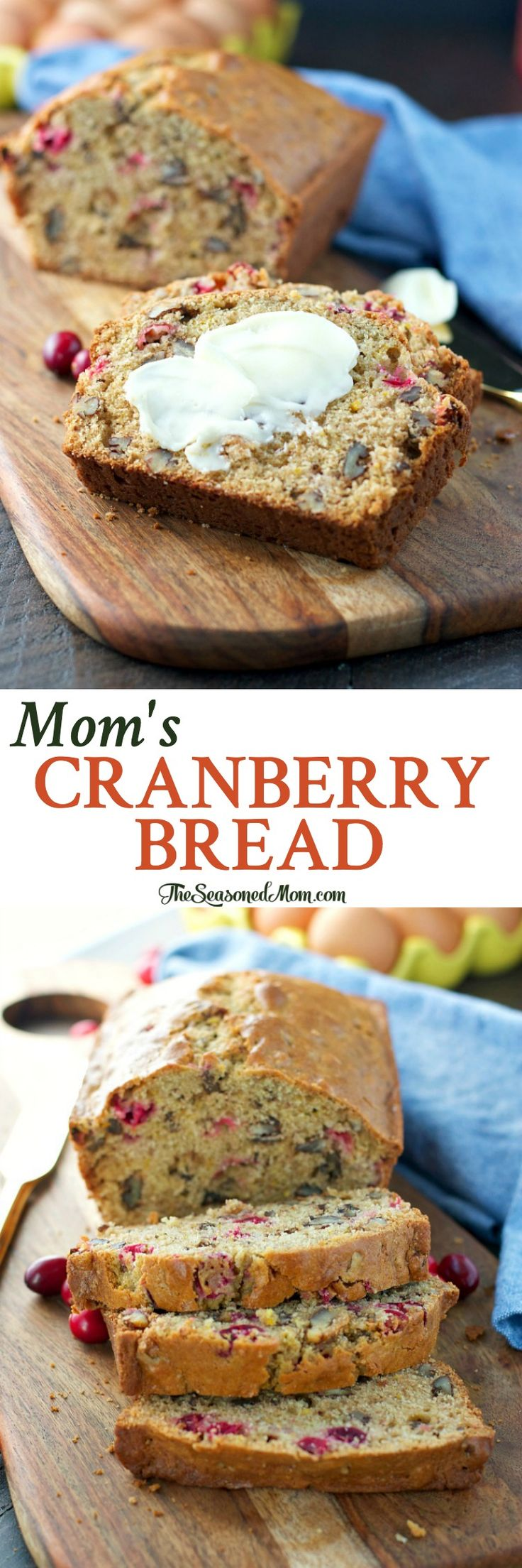 Just 15 minutes of prep for Mom's Cranberry Bread -- a delicious holiday breakfast or brunch option, or an easy Christmas food gift! #HorizonHolidays #ad @horizonorganic