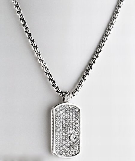 Without the pearl.  All diamond men's dog tag.  Definitely on my wish list.