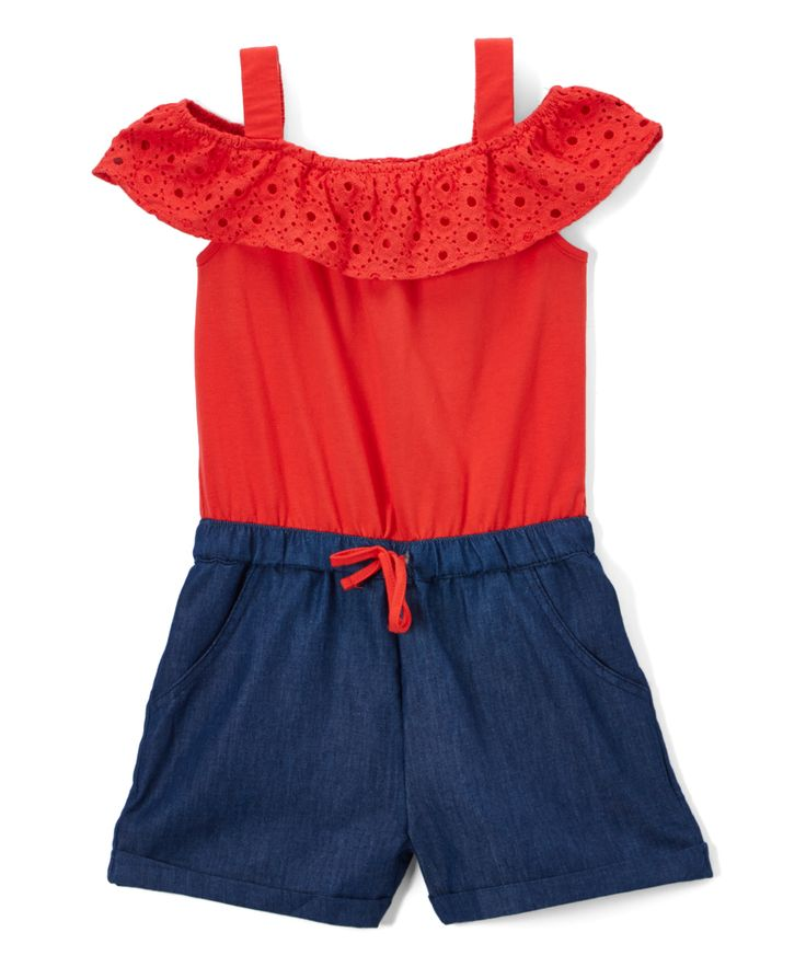 Zara Fiesta Red Eyelet Shoulder-Cutout Romper - Toddler & Girls